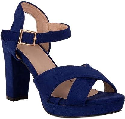 Sandales Femme Bleu Roi Haut Talon carré 10cm avec