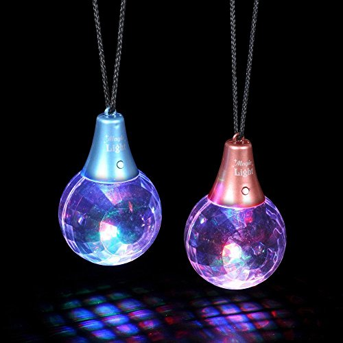 Paradise Treasures LED Flashing Multi-Color Disco Prism Ball Pendant Necklace