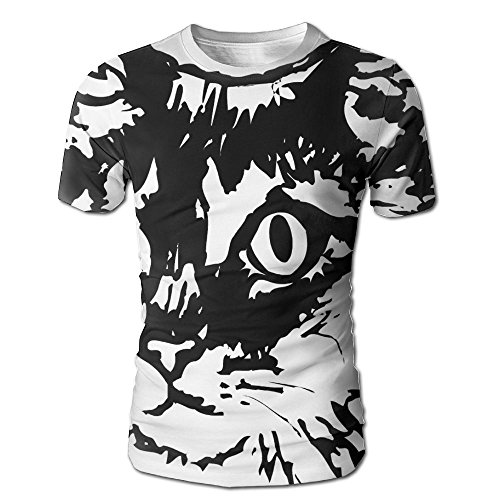 Cat Costume Without Tail (Cat-face Men's Fashion Graffiti Graphic 3D Print Round Collar T-Shirts)