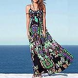 Auwer Sling Dress, Bohemian Womens Floral Print Sling Long Dress Sleeveless Summer Beach Dress (L, Green)