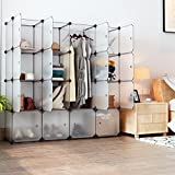 LANGRIA Portable Clothes Closet Wardrobe Bedroom Armoire Storage Organizer with Doors, Capacious & Sturdy. 16 cube White
