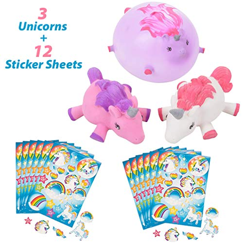- Unicorn Balloons Punch Ball | 3 Piece Set for Unicorn Favor Bags | 3 Pastel Unicorn Punch Balloons Each in Individual Packaging (Blister Card) with 12 Unicorn Rainbow Sticker Sheets