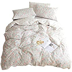VM VOUGEMARKET Floral Duvet Cover Set Queen,100% Cotton Lightweight Reversible Bedding Set,Vintage Flower Duvet Cover with Zipper Closure-Full/Queen,Bloom