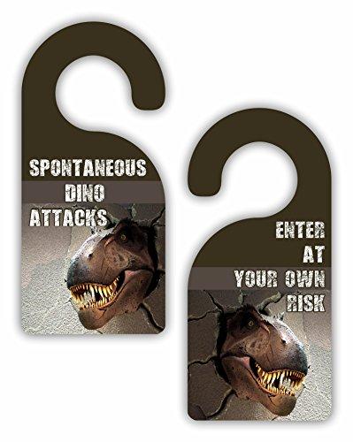 Lea Elliot Spontaneous Dino Attacks/Enter at Your Own Risk - Boys/Children's Room - Double-Sided Hard Plastic Glossy Door Hanger