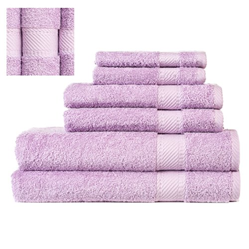 Luxury 100% Cotton Turkish Towel Set 6 Piece ,2 Bath Towels, 2 Hand Towels and 2 Washcloths, Machine Washable, Hotel Quality, Super Soft and Highly Absorbent by IXIRHOME (DARK LILAC)