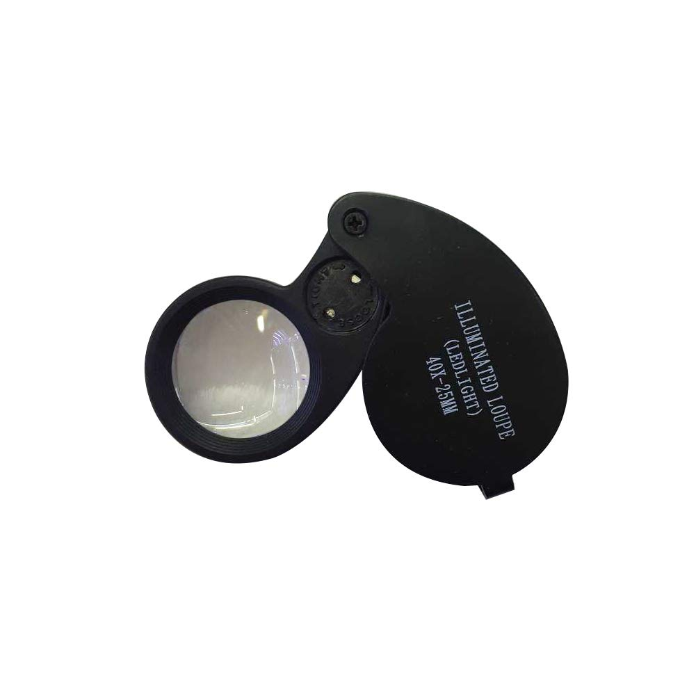 AkoMatial 40x Folding Handheld Glass Lens Magnifier Loupe with LED Light Eyes Magnifying Tools for Jewelry Black