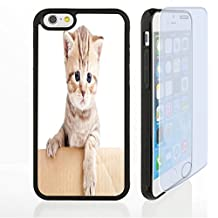 Vanfan Custom design Supreme iphone 6/6s 7 case Cat Lover Decor Collection Little Small Striped British Baby Cat in Cardboard Box Looking at Camera Picture Beige White Customized Premiu(black)