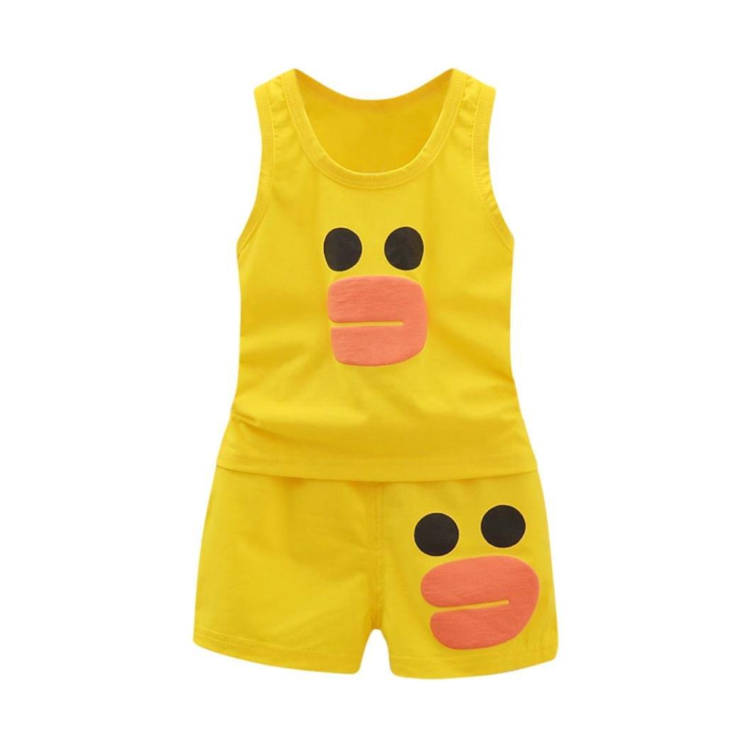 Logobeing 2Pcs Ropa Bebe Niñas Niños Chaleco de Dibujos Animados Tops Camiseta Pantalones Cortos Conjuntos