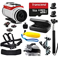 TomTom Bandit 4K HD Action Camera with 11 Piece Accessories Bundle includes 16GB Card + Selfie Stick + Case + Head/Chest Strap + Floating Handle + Octopus Tripod + Card Reader + More