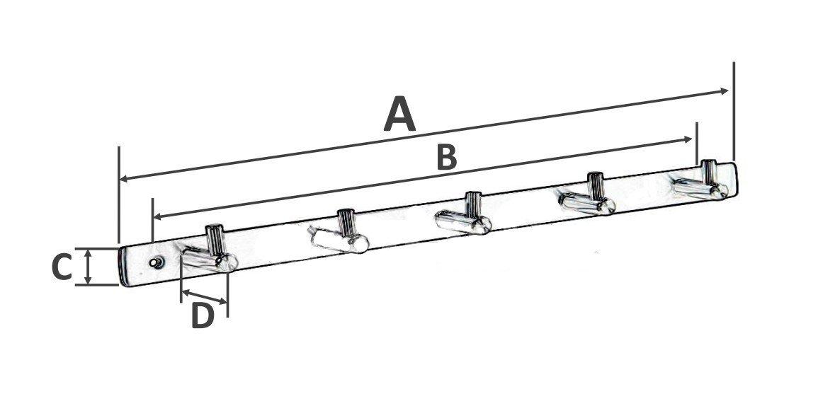 BEIYI Hooks Hanger Rack Wall Mount Stainless Steel (6 Hooks)