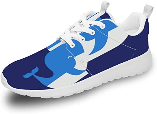 Mesllings Zapatillas de Correr Unisex con diseño de Ballena Azul y ...