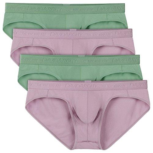 David Archy Men's 4 Pack Wide Waistband Bikini Briefs(M,Green/Purple-Modal) (Pouch Support)