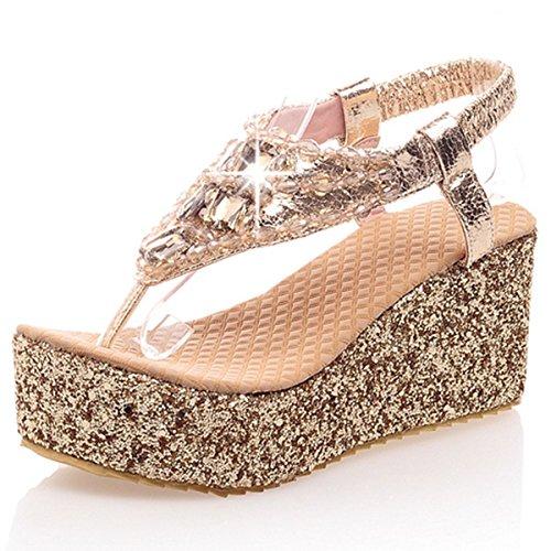 Glitter Slip Heel Flip DoraTasia Sandals Gold Platform Strap T High Wedge Flops Women's Summer Foam on qPTER