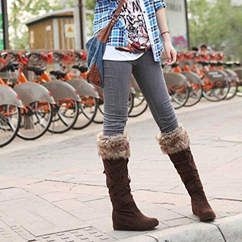Chaussures Botte Plat Talon Bottine Neige Chaude Nubuck de Sur Suede TM Bottes Genou Hiver Cuissarde Femmes le Longue LQZ Fourrure Classique zTO4qnw