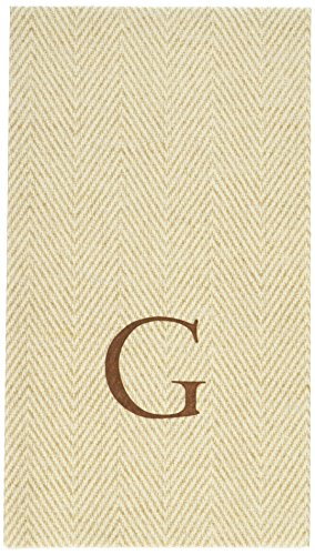 Entertaining with Caspari Jute Herringbone Paper Linen Guest Towels, Monogram Initial G, Pack of 24 ()