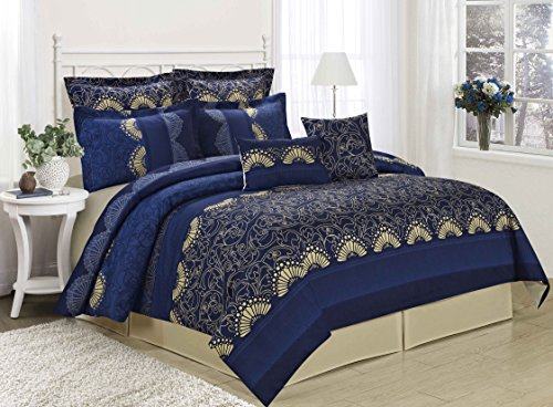 MF 8PC Printing New Designs Comforter Set Queen King CalKing Size (King, Decadence-blue)