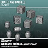 Crates and Barrels, Terrain Scenery for Tabletop 28mm Miniatures Wargame, 3D Printed and Paintable, EnderToys