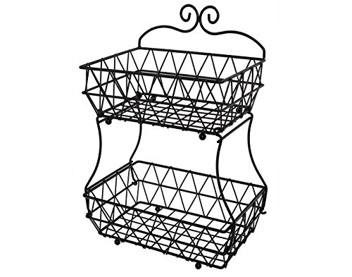 Upgraded Version - 2 Tier Fruit Bread Basket Display Stand - Screws Free Design