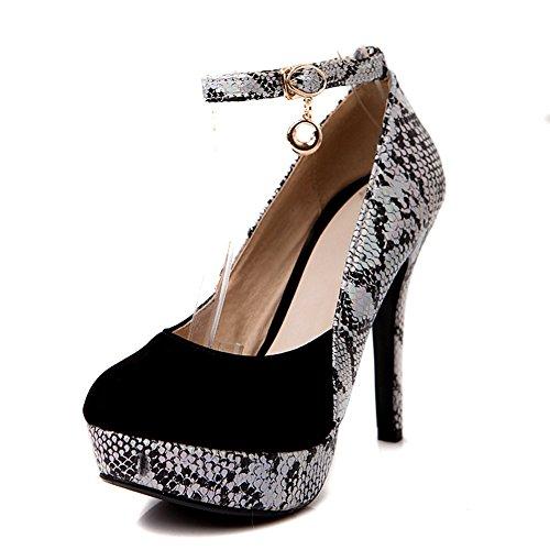 Balamasa Girls Coincide Con El Color Grueso De La Parte Inferior Del Talón Cobra Imitated Leather Pumps-Zapatos Black