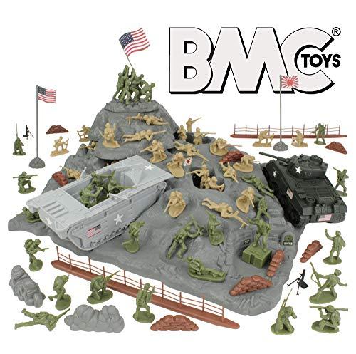Plastic Men Army War - BMC WW2 Iwo Jima Plastic Army Men - Island, Tanks & Soldiers 72pc Playset