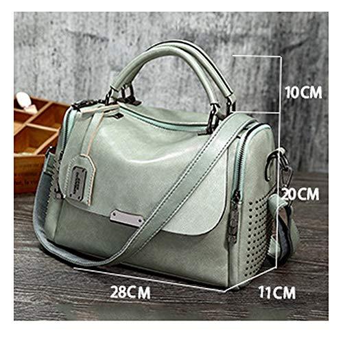 Modesty Bag Handbag Soft Bag leather Women Shoulder Boston Rivet Satchel 2018 Totes Light Crossbody Messenger Handbag PU bag Purse Green 4wxrq4fRO