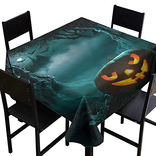 crabee Dinning Tabletop Decoration Halloween,Carved Pumpkin in Forest,W54 x L54 Square Tablecloth (The Best Carved Pumpkin In The World)