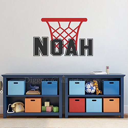 Basketball Personalized Boy Name Decal- Boy Name Wall Decals – Teens Boys Room Sport Theme Wall Decor
