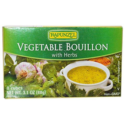 Rapunzel, Vegan Vegetable Bouillon with Sea Salt & Herbs, 8 Cubes 3.1 oz (80 g) - 2pcs (Rapunzel Organic Bouillon)