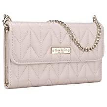 Samsung Galaxy Note 5 Wallet Case, True Color® [Night Out] Premium Unique Chevron Quilted Pattern Wallet Wristlet Purse Clutch Case Cover with Removable Chain Strap - Ivory…