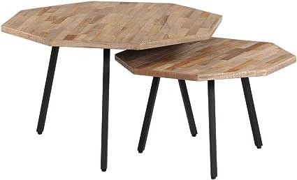 Festnight Tables Gigognes Tables de Salon de Style Vintage 2 pcs Bois Solide