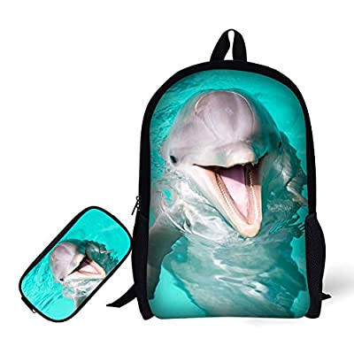 944ad708673 ANYFOCUS School Backpack, 3D Print Dolphin Pattern Backpack + Pencil Bag  chic