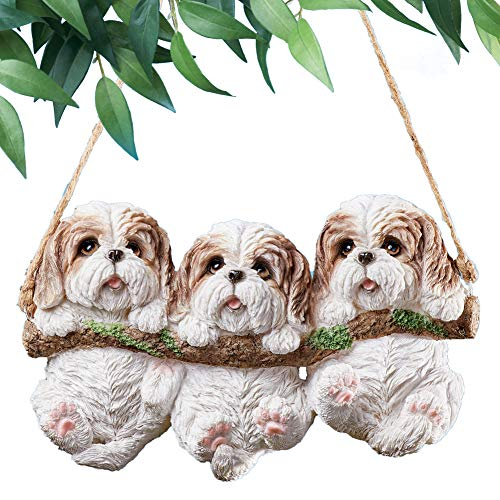 Collections Etc Three Dogs on Log Swing Hanging Tree Decoration - Outdoor Decorative Accessories