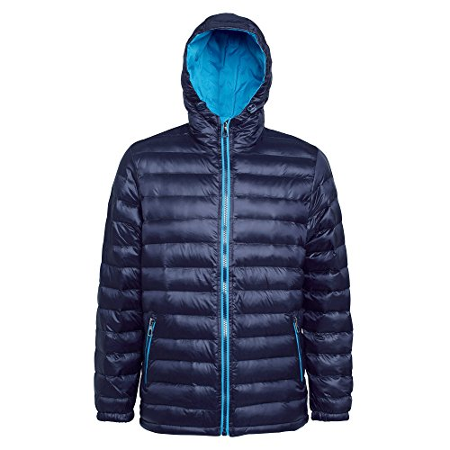 2786 Mens Hooded Water & Wind Resistant Padded Jacket Navy/Sapphire