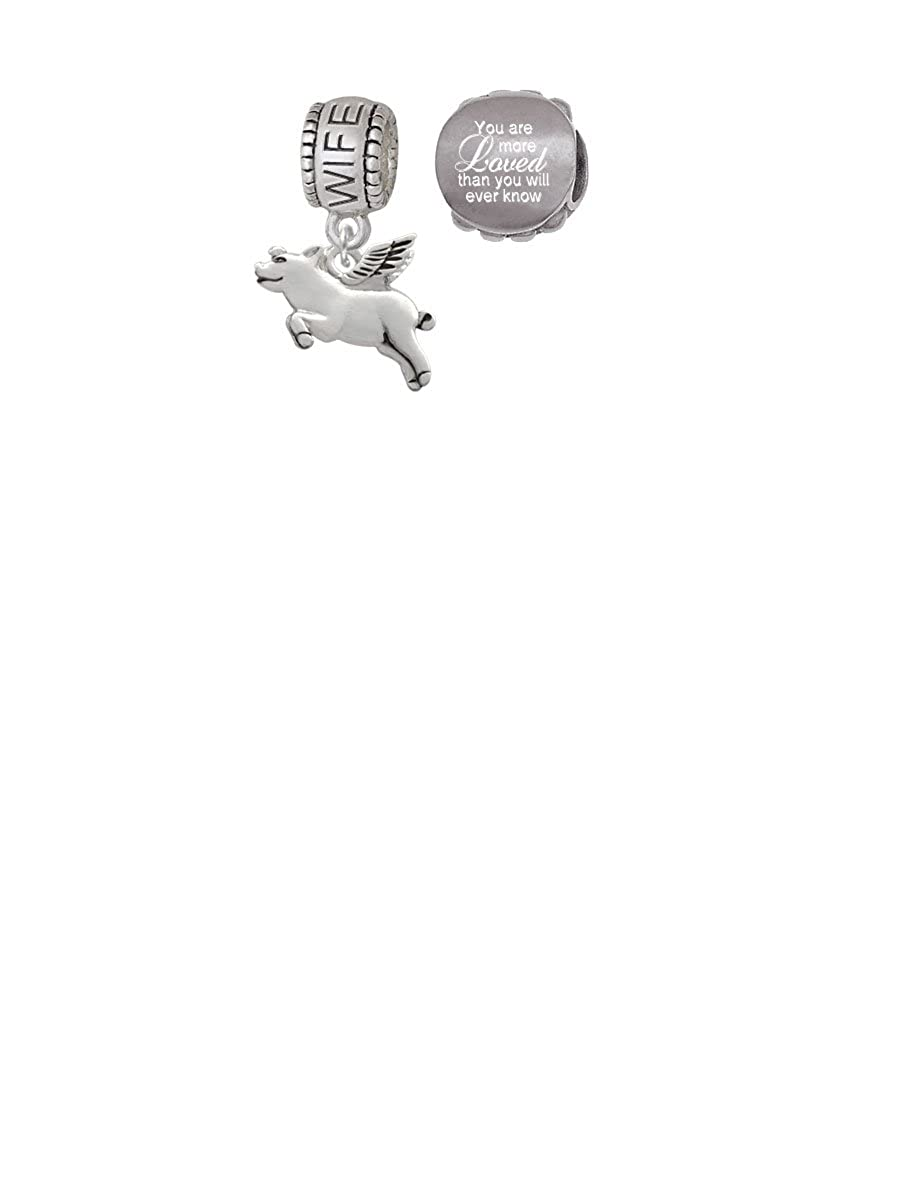 Delight Jewelry Flying Pig Family Charm Bead with You Are More Loved Bead Set of 2
