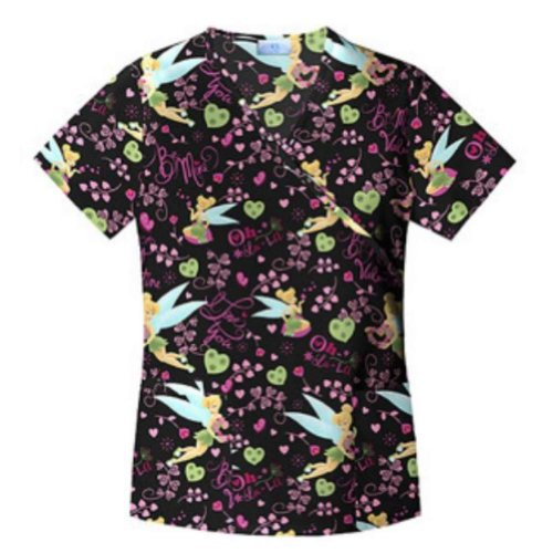 UPC 799475517389, Disney Tinkerbell Womens Valentine Medical Smock Top Nurse Scrubs Shirt Love