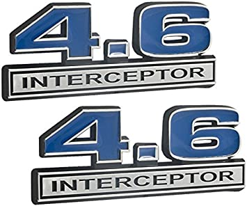 """Ford Mustang Crown Victoria Chrome /& Red 4.6 Police Interceptor Emblem 5/"""" x 2/"""""""