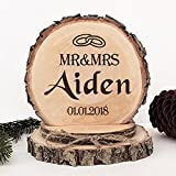 KISKISTONITE Wooden Wedding Cake Toppers Rustic, Personalized Couple Rings Design, Engraved Mr and Mrs Country Style Cake Decoration Favors Party Decorating Supplies