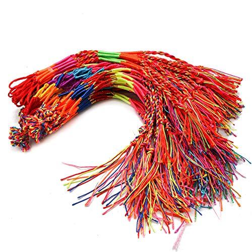 (JETEHO 100 Pieces Handmade Braided Bracelets Braid Friendship Cords Strand Bracelet,Assorted)