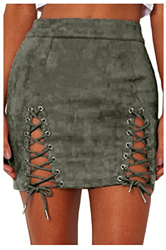 (Meyeeka Womens Sexy Lace Up Bodycon Faux Suede Fashion Criss Cross Mini Skirt M Green)