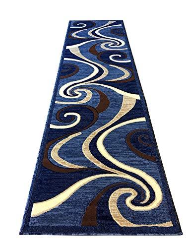 (Modern Long Runner Contemporary Rug Blue Brown Beige Abstract Swirl Design 144 ( 32 Inch X 10 Feet ) )