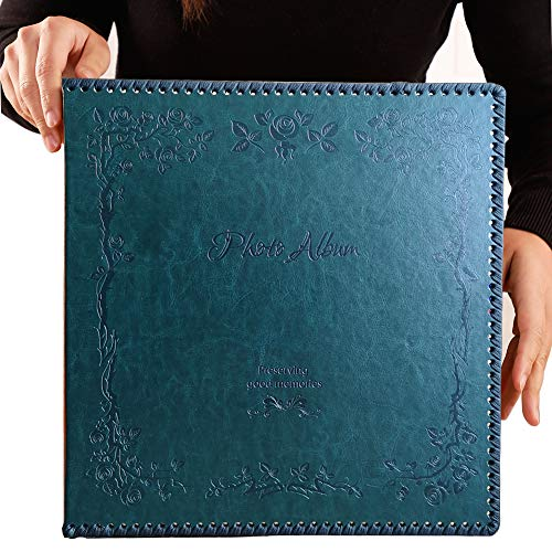 Totocan Photo Album Self Adhesive, Huge Magnetic Self-Stick Page Picture Album with Leather Vintage Inspired Cover, Hand Made DIY Albums Holds 3X5, 4X6, 5X7, 6X8, 8X10 Photos (DarkGreen 80 Pages)]()
