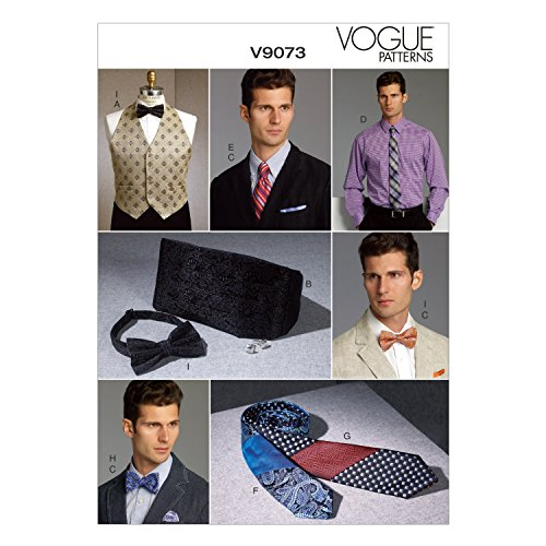 Vogue Patterns V9073 Men's Vest, Cummerbund, Pocket Square and Ties Sewing Template, One Size