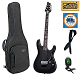 Schecter Damien Platinum 6 Floyd Rose Electric Guitar, Satin Black, 1183,Voyager Bundle, 1183