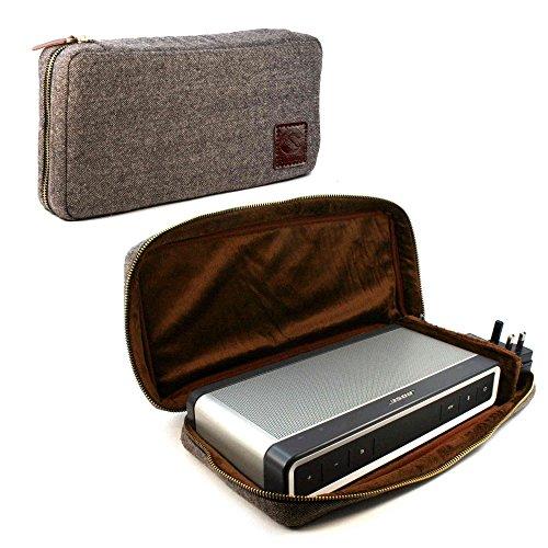 Tuff-Luv Herringbone Tweed NFC Travel case für Bose Soundlink Bluetooth Speaker III 3 mit NFC tag - Braun