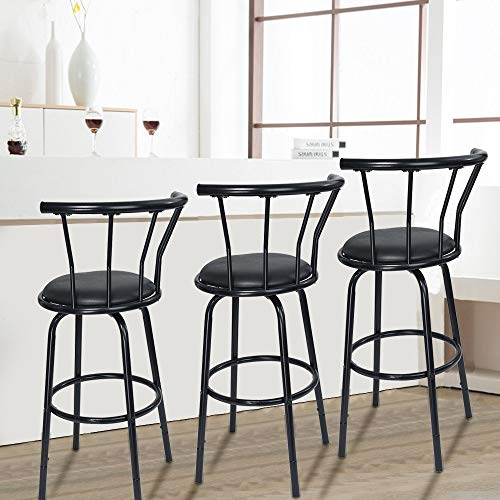 (Chenway Bar Stools Swivel with Back Stool Bar Set of 2 Vintage Rotating High Stool Bar Chair Height 38.6 X 14.8 X 14.8 Inches)