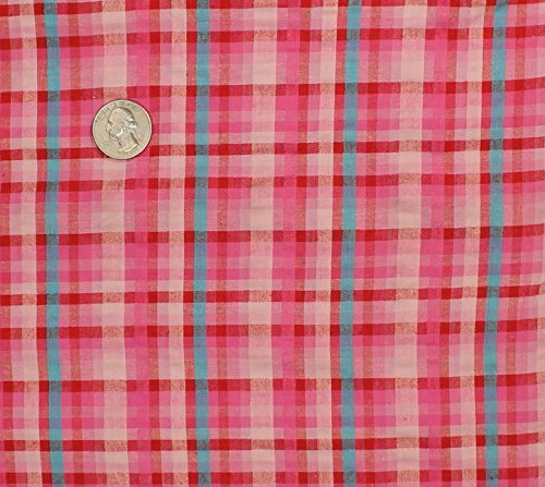Summer Cotton Stretch Seersucker Plaid Fabric, Seerssucker Plaid Fabric, Seersucker Shirting Fabric - PINK/AQUA - Plaid Fabric Seersucker