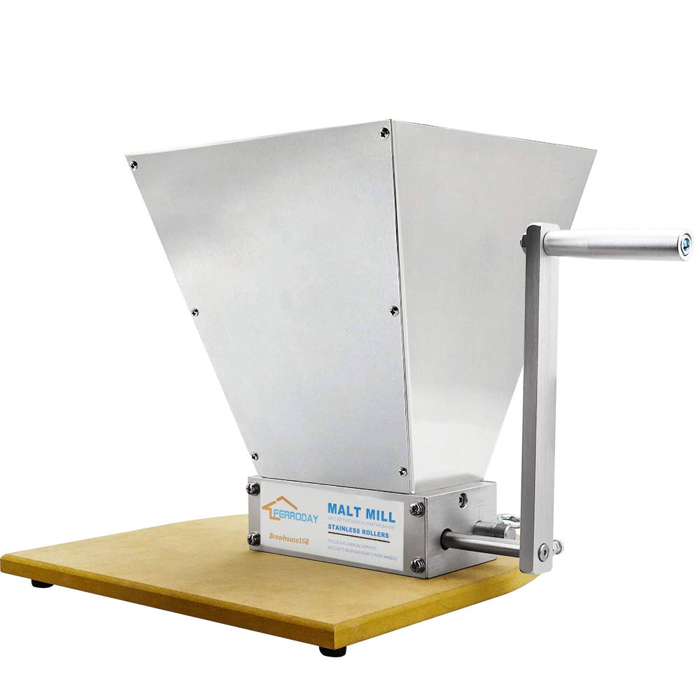 FERRODAY Malt Crusher Stainless Steel 2 Roller Malt Mill Homebrew Grain Crusher Manual Adjustable Barley Grinder With Wooden Base (medium) by Ferroday (Image #8)
