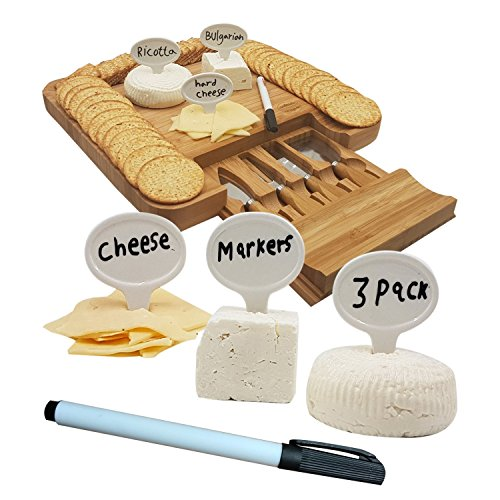 Cheese Markers Set of 4 - 3 Cheese Labels Made of Real Porcelain and Bonus 1 Black Pen, Chalk Markers, Advanced Cheese Name Tags, Kitchen Tool By 1ELEGANT