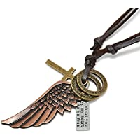 wanmanee Creative Mens Womens Jewelry Vintage Angel Wing Leather Necklace Charms Pendant (Bronze)