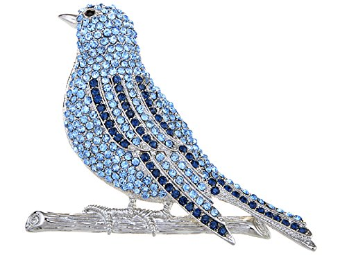 Alilang Silvery Tone Blue Rhinestones Baby Bird Wings Branch Brooch Pin